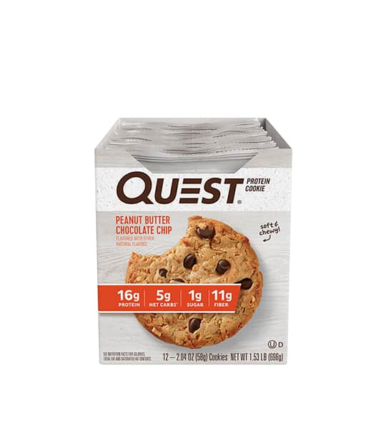 A box of 12 Quest Protein Cookie with Peanut Butter Chocolate Chip flavour contains 16g protein, 5g net carbs, 1g sugar and 11g fiber