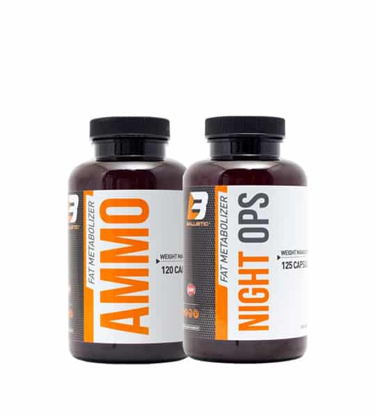 2 brown bottles with black caps of Ballistic Fat Metabolizer Night OPS with white and orange label contains 125 capsules each