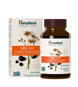Brown bottle with purple cap along with the product box of Himalaya Uricare Herbal Supplement contains 120 vegetarian capsules