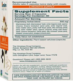 Supplement facts and ingredients panel of Himalaya Uricare Caps shown in the back of a box