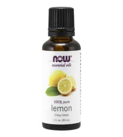 Brown bottle with white label of NOW Essential oils 100% pure Lemon contains 1 fl. oz. (30 ml)