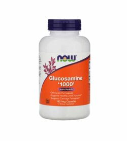 White and orange bottle with purple cap of NOW Glucosamine 1000 Joint Health* contains 180 veg capsules