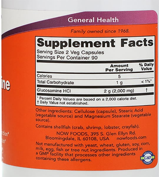 Supplement facts and ingredients panel of NOW Glucosamine HCL1000 180 Caps for a serving size of 2 veg capsules with 90 servings per container