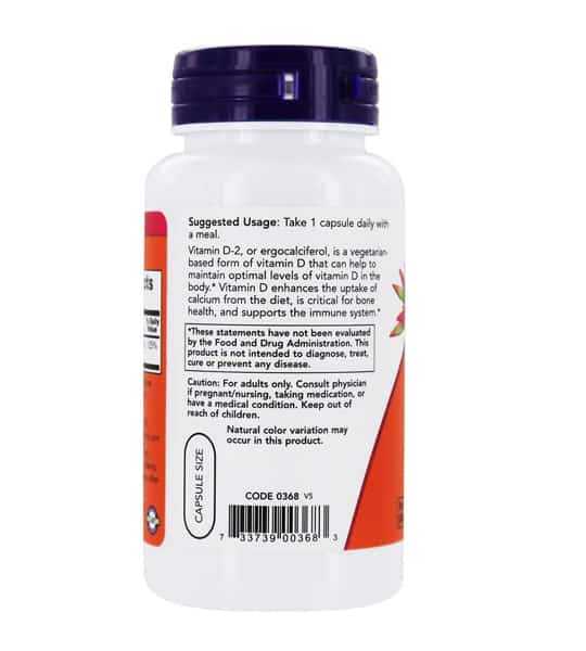 White bottle showing suggested usage and caution label of NOW Vitamin D2 1000IU Dry vegan