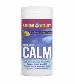 White container with blue and purple label of Natural Vitality CALM the anti-stress drink mix in white background