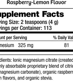 Supplement facts and ingredients panel of Natural Calm Mag Citrate Powder shown in white background