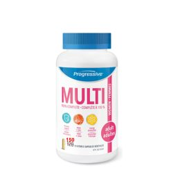White bottle with blue cap of Progressive Multi 100% complete Women Adult contains 150 vegetable capsules