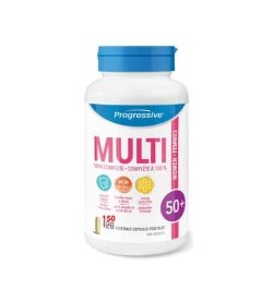 White and blue bottle of Progressive Multi 100% complete women 50+ contains 150 vegetable capsules