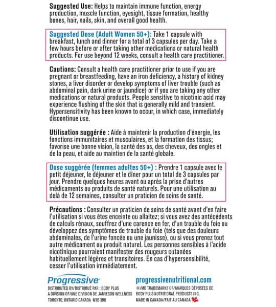 Usage and dose panel of Progressive MultiVitamins Women 50+ 120-Capsules