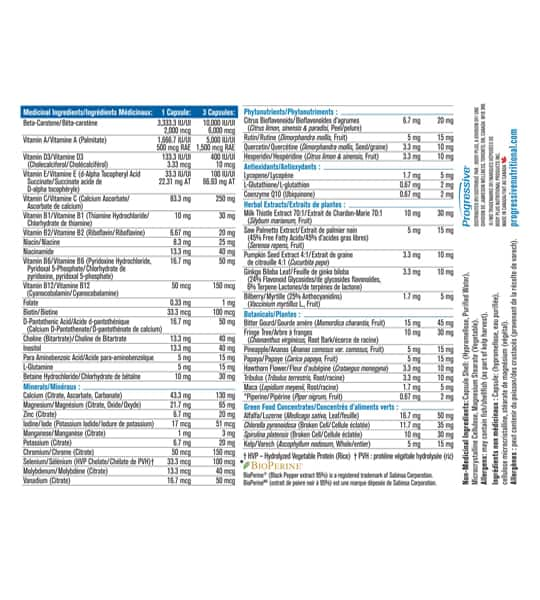 Medicinal ingredients panel of Progressive Multivitamin Men 50+ 120-Capsules