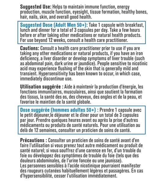 Usage and dose panel of Progressive Multivitamin Men 50+ 120-Capsules