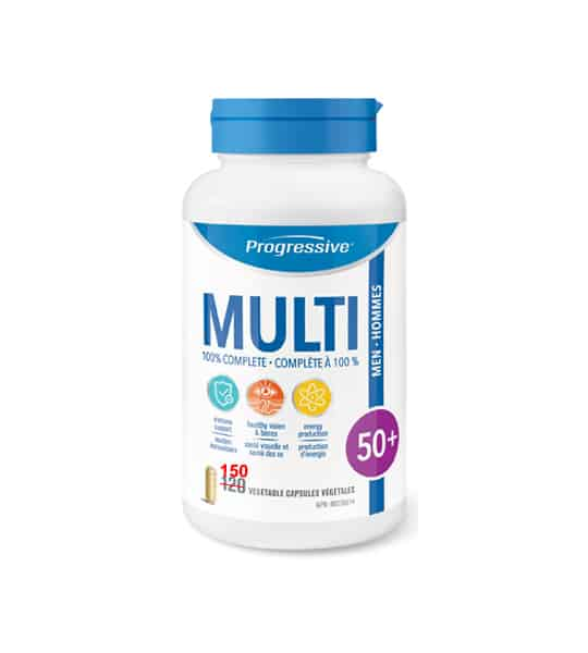 White bottle with blue cap of Progressive Multi 100% complete Met 50+ contains 150 vegetable capsules