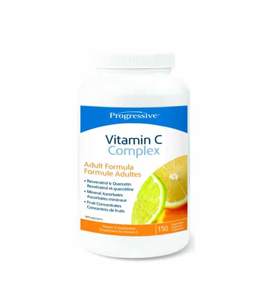 White and blue bottle of Progressive Vitamin C Complex Adult Formula contains 150 capsules