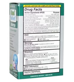 Grey and green box showing drug facts, uses and warning label of Real Relief All Allergies