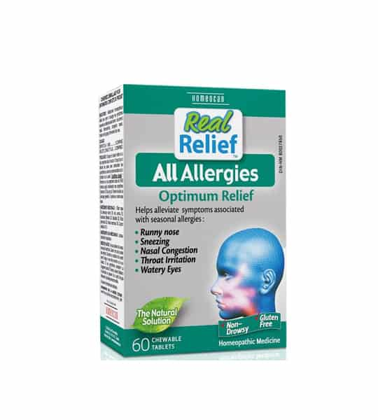 Green and gray box of Real Relief All Allergies optimum relief contains 60 chewable tablets
