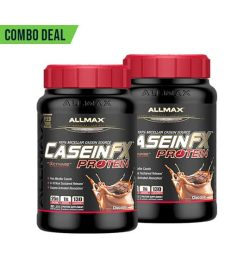 Combo deal 2 black containers with red cap of Allmax CaseinFX Protein with Chocolate flavour