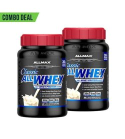 Combo deal 2 black containers with red cap of Allmax Classic All Whey 100% Whey Protein Source written in blue text