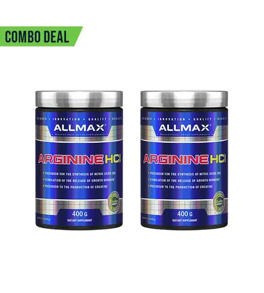 Combo deal 2 shiny blue containers with silver cap of Allmax Arginine HCI contains 400 g each