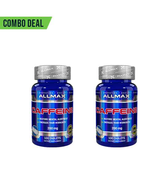 Combo deal 2 shiny blue bottles with silver cap of Allmax Caffeine 200 mg contains 100 tablets each
