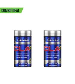 Combo deal 2 shiny blue bottles with silver cap of Allmax CLA95 contains 150 softgels each