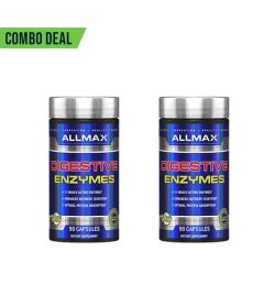 Combo deal 2 shiny blue bottles with silver cap of Allmax Digestive Enzymes contains 90 capsules each