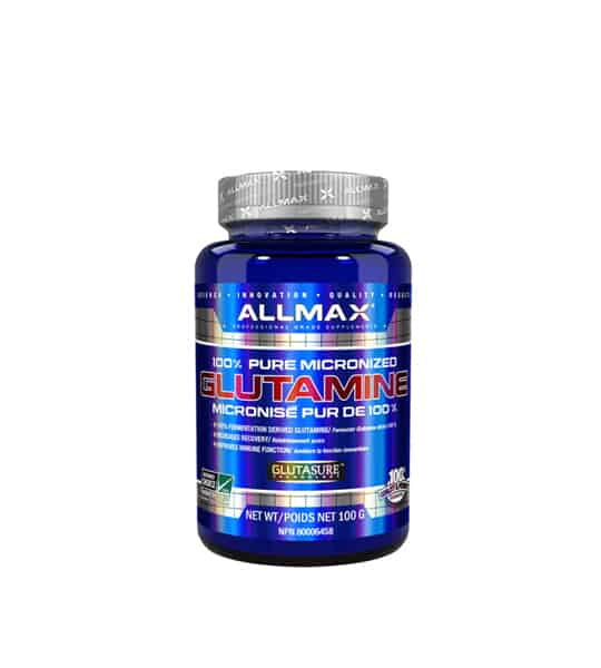 Blue bottle with silver cap of Allmax 100% Pure Micronized Glutamine contains net wt100 gram with Glutasure