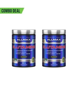 Combo deal 2 shiny blue containers with silver cap of Allmax Glutamine contains 400 g each