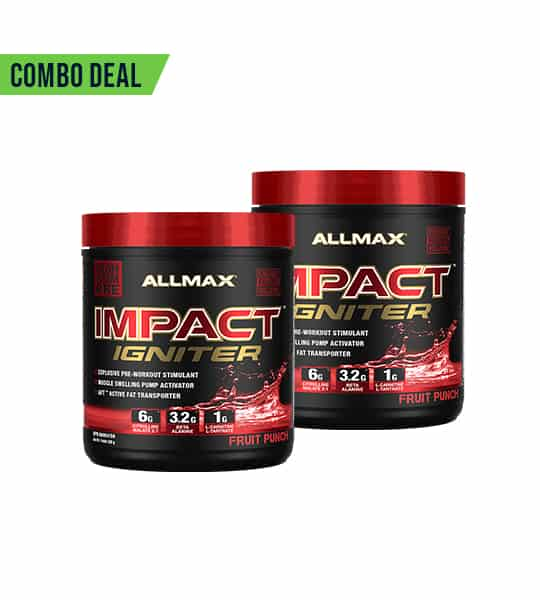 Combo deal 2 black and shiny red containers with red cap of Allmax Impact Igniter with Fruit Punch flavour