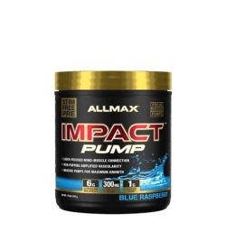 Black and blue container with gold lid of Allmax Impact Pump with Blue Raspberry flavour STIM Free