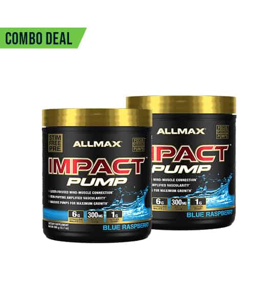 Combo deal 2 black containers with gold cap of Allmax Impact Pump Blue Raspberry flavour shown in white background