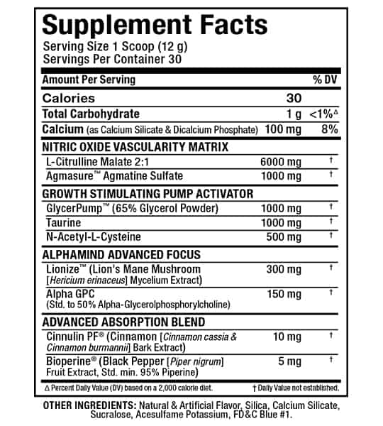 Supplement facts and ingredients panel of Allmax Nutrition Impact pump for serving size of 1 scoop (12 g) containing 30 servings per container