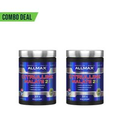 Combo deal 2 black and shiny blue container with silver lid of Allmax Citrulline Malate 2:1 contains 300 g each