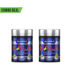 Combo deal 2 shiny blue containers with silver caps of Allmax R+ALA Anti Aging each containing 60 Capsules