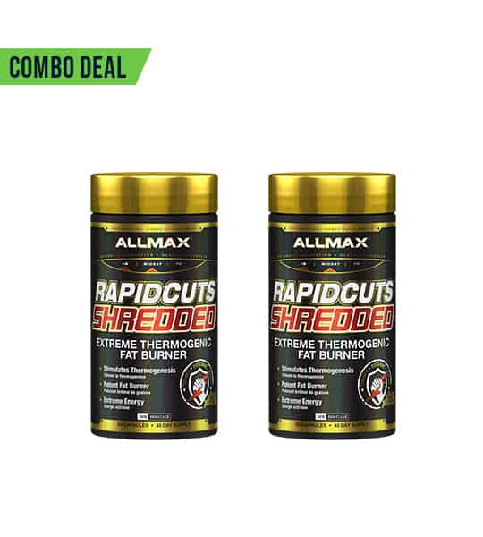 Combo deal 2 shiny black bottles with gold caps of Allmax Rapidcuts Shredded Extreme Thermogenic Fat Burner dietary supplements