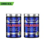 Combo deal 2 shiny blue bottles with silver caps of Allmax Taurine dietary supplements containing 400 g each