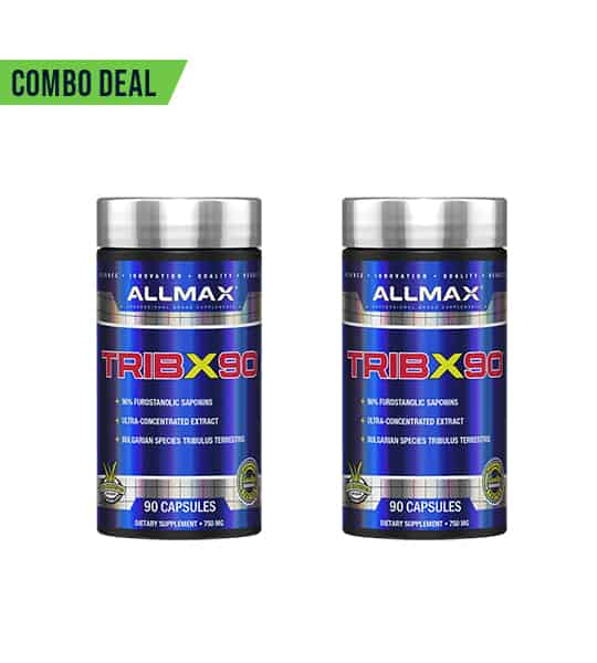 Combo deal 2 shiny blue bottles with silver caps of Allmax TribX90 dietary supplements containing 90 capsules each