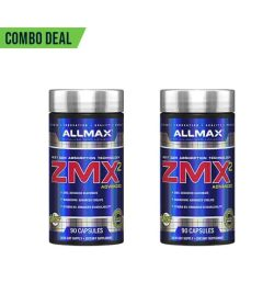 Combo deal 2 shiny blue containers with silver cap of Allmax ZMX2 Advanced containing 90 capsules each