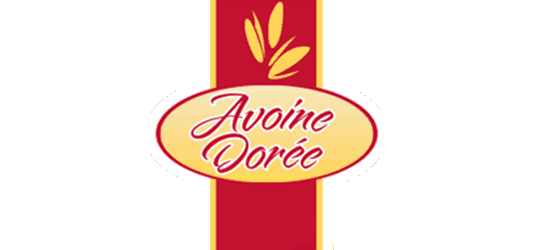 Avoine Doree logo red cursive font yellow background red stripe