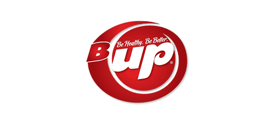 B Up Be Healthy. Be Better Logo of protein bars with red circle white font with transparent background