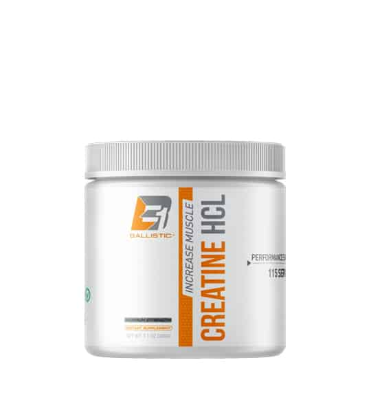 White bottle of Ballistic labs Increase Muscle Creatine HCL supplements 115 servings orange and grey bold