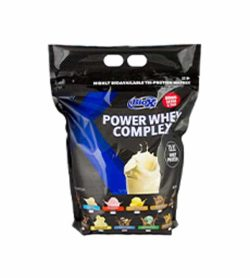 Black and blue pouch of BioX Power Whey Complex contains 10 lbs shows different ice cream flavours on the package