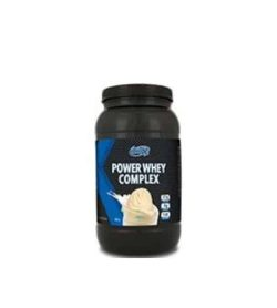 Black container with black lid of BioX Power Whey Complex shows ice cream on the package