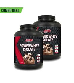 Combo deal 2 black containers with black caps of BioX Power Whey Isolate with Chocolate & Cream flavour contains 2.27 kg each