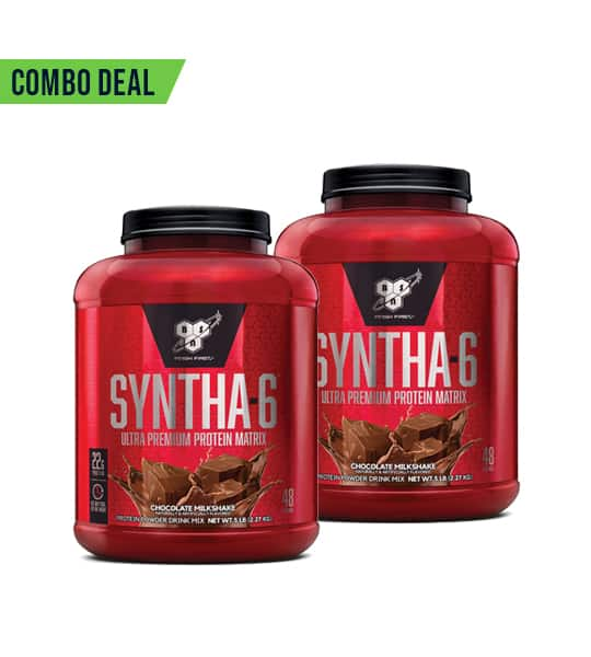 Combo deal 2 red containers with black lids of BSN Syntha-6 Ultra Premium Protein Matrix with Chocolate Milkshake flavour