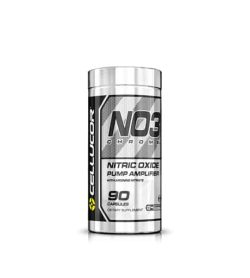 Silver container of Cellucore NO3 Chrome Nitric Oxide Pump Amplifier contains 90 capsules of dietary supplement