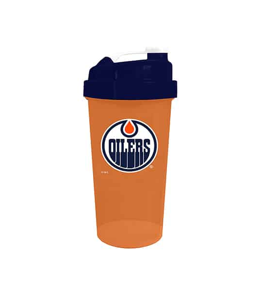 Orange cup with blue lid in white background Delux NHL Shaker cup Edmonton Oilers