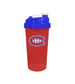 Red cup with blue lid in white background Delux NHL Shaker cup Montreal Canadians