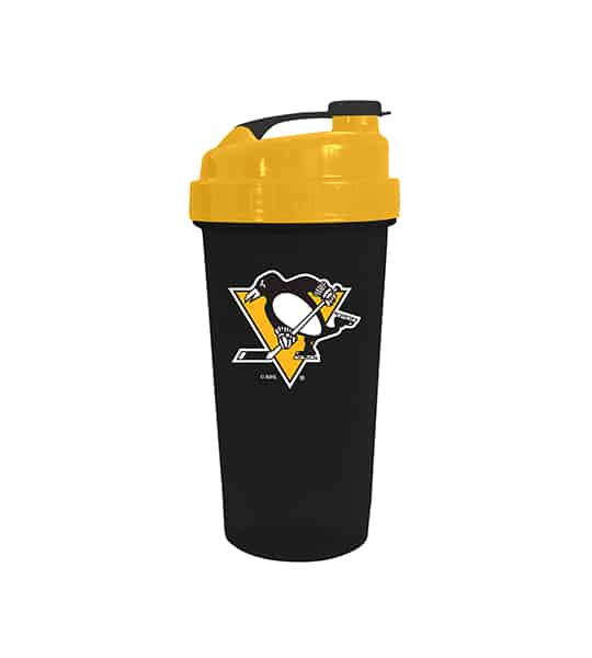 Black cup with yellow lid in white background Delux NHL Shaker cup Pittsburg Penguins