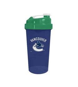 Blue cup with green lid in white background Delux NHL Shaker cup Vancouver Canucks