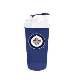 Blue cup with white cap of Delux NHL Shaker Cup Winnipeg Jets in white background